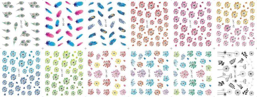 48 hojas de color de la hoja de la transferencia de la transferencia de las flores del arte del clavo etiqueta calcomanía para el cuidado polaco DIY universo decoración del arte del clavo