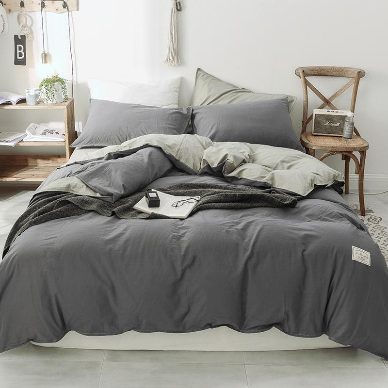 Grey Bedding Washed Cotton Bedding Set Quilt Cover Set Queen Size