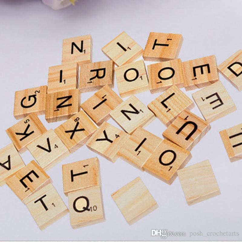 100 PZ in legno alfabeto numeri lettere Scrabble Piastrelle Bordo artigianato minuscole