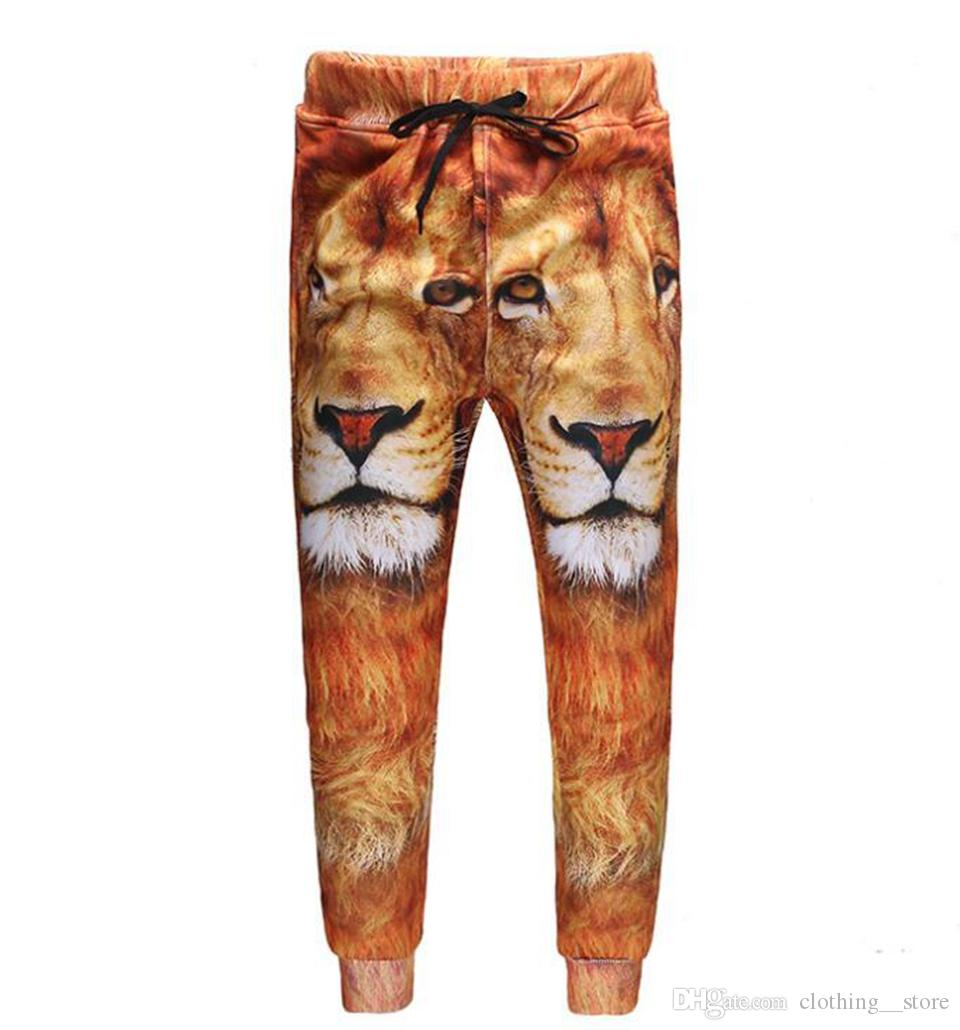 Men's European American Korean versions of the new fashion trend personality slim lion pattern 3D printed stretch trousers /S-XL