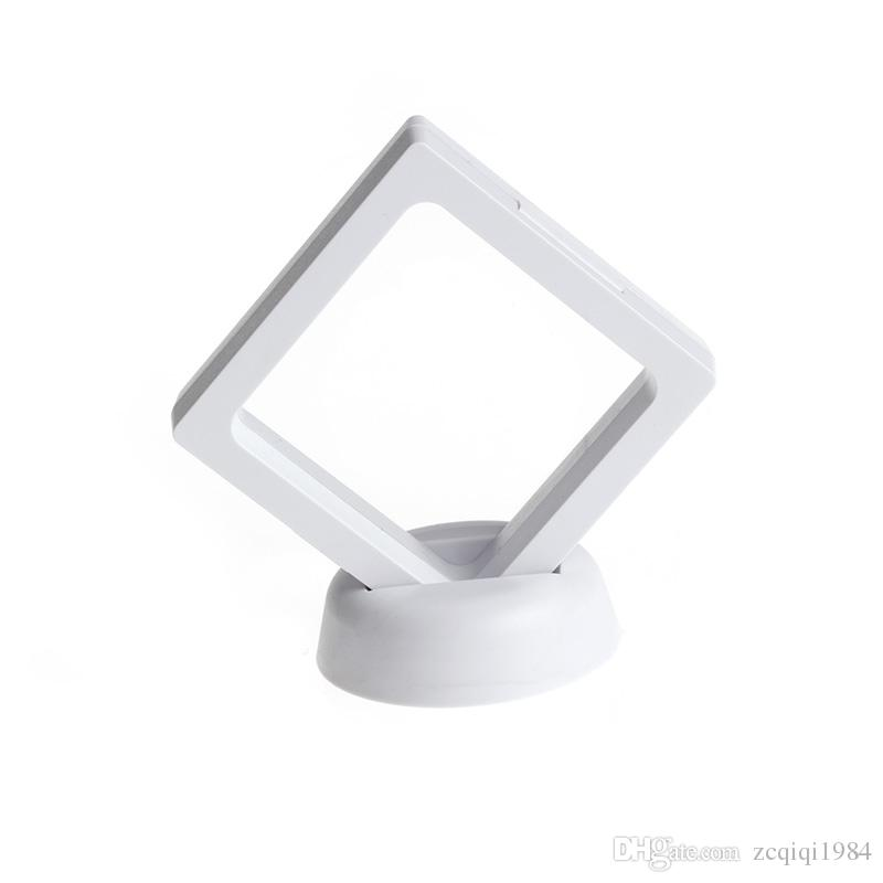 Jewelry Ring Pendant Display Stand Suspended Floating Display Case Jewellery Coins Gems Artefacts Stand Holder Box For Women white black 2