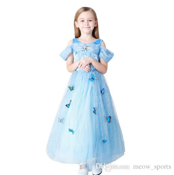Snowflake Butterfly Dress Fancy Dress Costumes for Kids Blue Cosplay ...