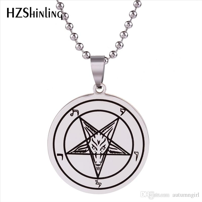2018 New Stainless Steel Sigil of Baphomet Pendant Baphomet Pentagram Logo Necklace Lilith Sigil Seal Jewelry Silver Chain