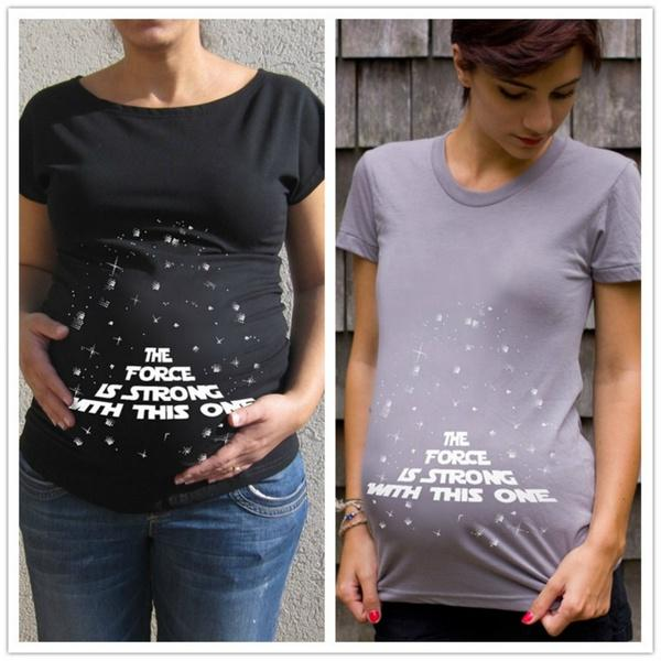 beaba5e5 The Force Is Strong Funny Pregnant Women Maternity T Shirt Announced  Pregnancy Clothes White Dresses White Dress From Strawberry9, $32.17|  DHgate.Com