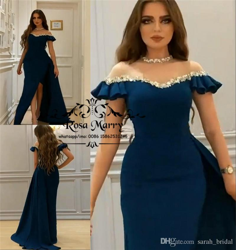 Arabic Design Mermaid Plus Size Evening Dresses 2018 Yousef Aljasmi  Sequined Beads High Split African Formal Dresses Party Evening Prom Gown  Size 18 Evening ... 63067bde7de8