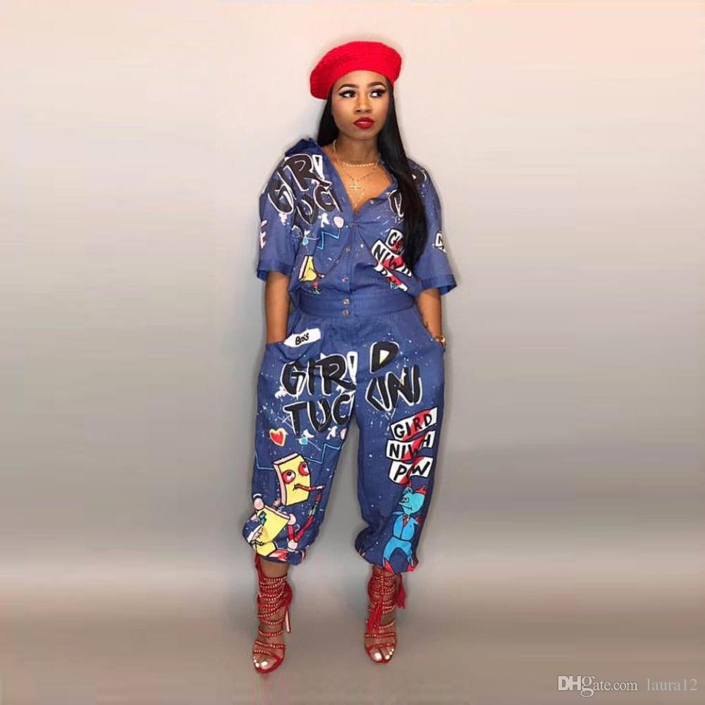 Fashion Printing Blue Women Jumpsuits New Arrival Short Sleeves Lapel neck Loose Casual Pants Suits Oufits 2018 Summer