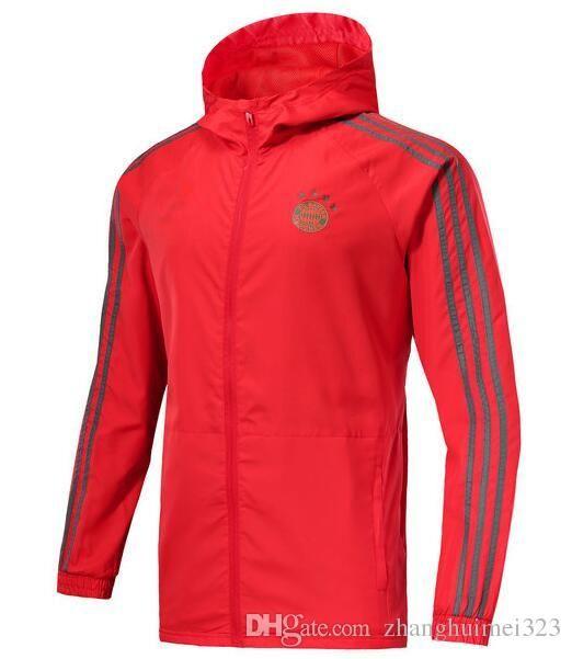 2018 19 Bayern Wind Jacke Kit Voll Reißverschluss Windbreaker 18 19 Langarm Hosen Mantel München Fußball Trainingsanzug Hoodie Plus Fußball Shirts Set