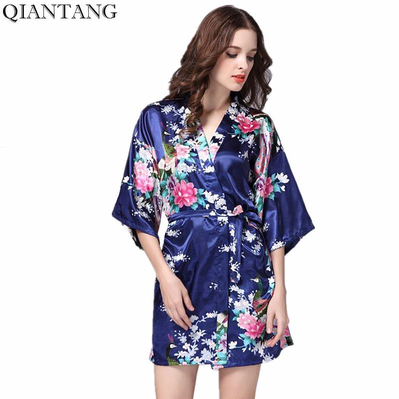 a2f8ab27b1 Plus Size Navy Blue Women S Night Robe Kimono Female Faux Silk Bath Gown  Summer Sleepwear Peafowl Size S M L XL XXL XXXL Srj01 S1015 Sexy Nighties  Sexy ...