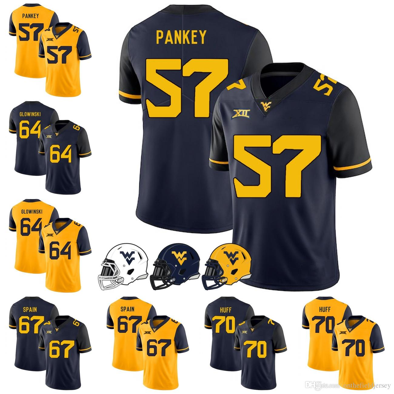 watch 889e3 8d3b5 West Virginia Mountaineers 2018 NEW STYLE #57 Adam Pankey 64 Mark Glowinski  67 Quinton Spain 70 Sam Huff College Football Jerseys S-3XL