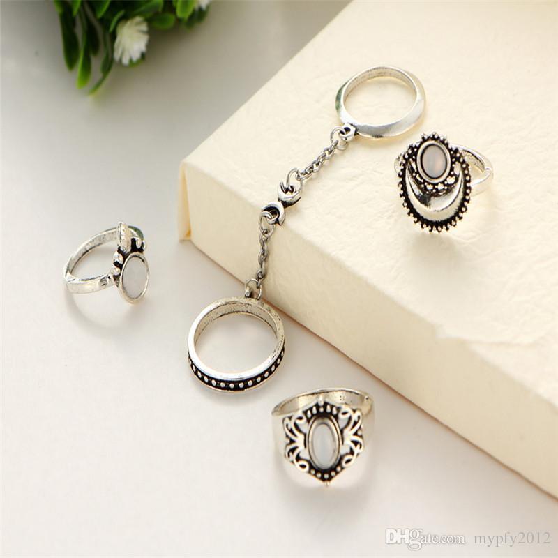 Nueva Boho Knuckle Anillos Para Mujeres Niñas Vintage Silver Gold 5 Unids / set Midi Anillos de Dedo Conjuntos Anillo de Ópalo Joyería Regalos del partido HZ