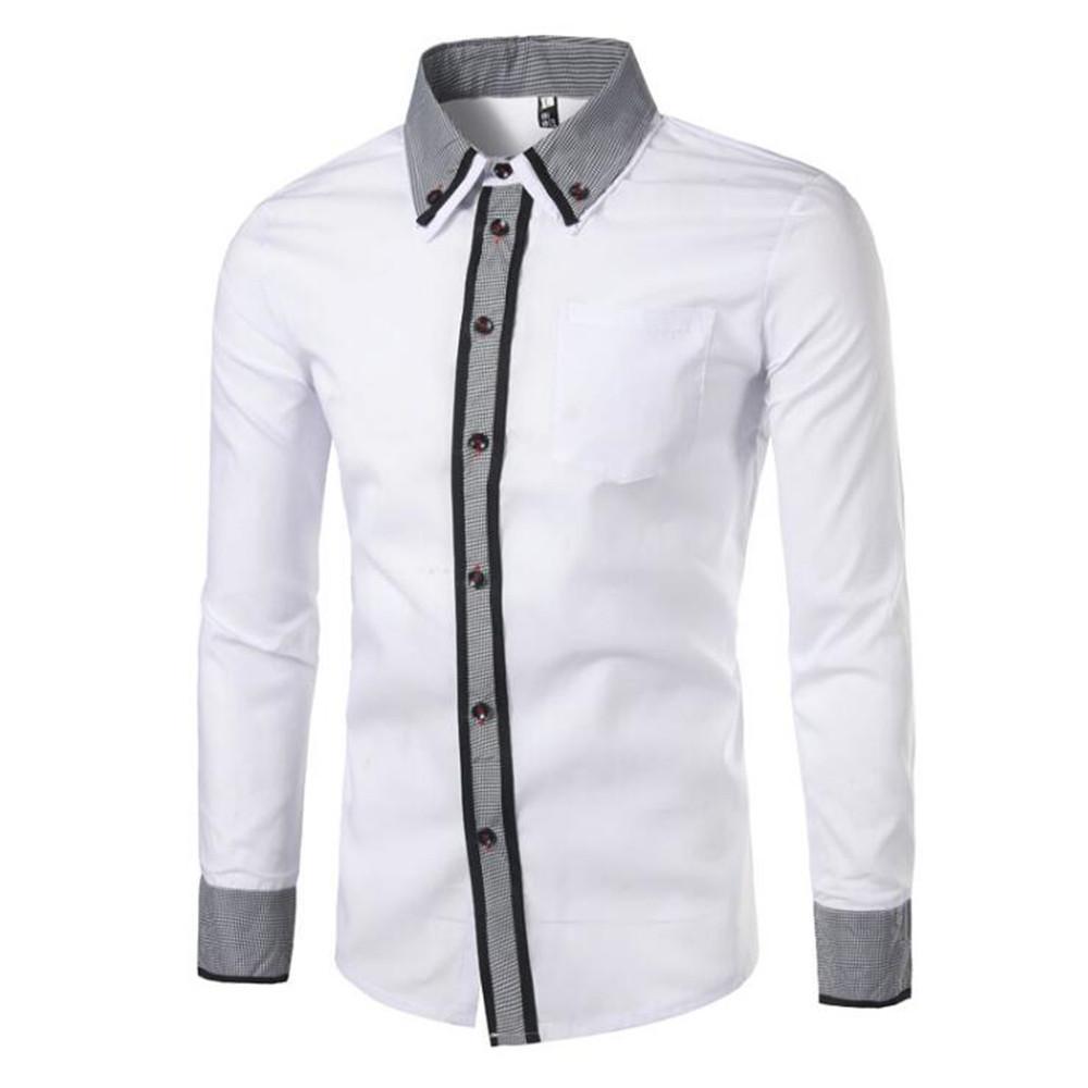 0d86ffb7a07 Compre Oficina Patchwork Camisa Moda Manga Larga Para Hombre Camisas De La  Novedad Camisa Blanca Punk Rock Streetwear Hombre Elegante Cena Ropa A   25.68 Del ...