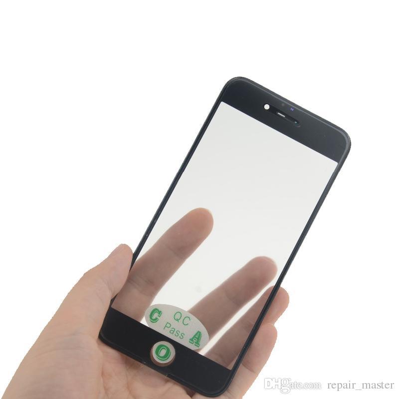 Ön dış dokunmatik ekran cam için iphone 7 7 plus soğuk basın orta çerçeve çerçeve + oca yüklü cam lens değiştirme siyah beyaz renk