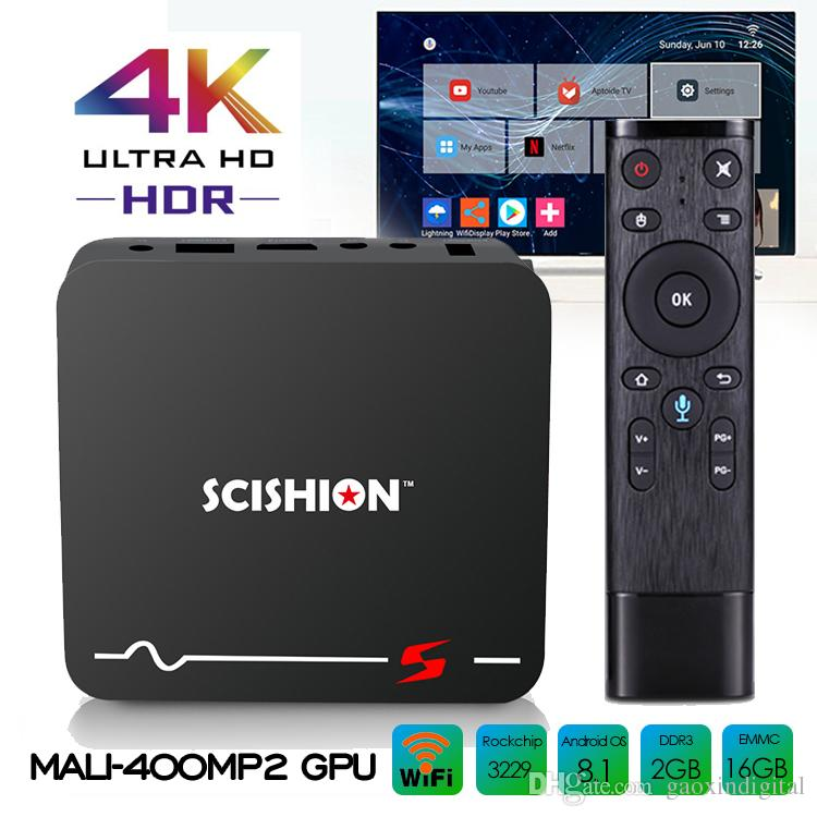 Android Set top box Rockchip RK3229 Android 8.1 TV Box con ricerca vocale Telecomando 2GB 16 GB 4K ultra smart tv media player