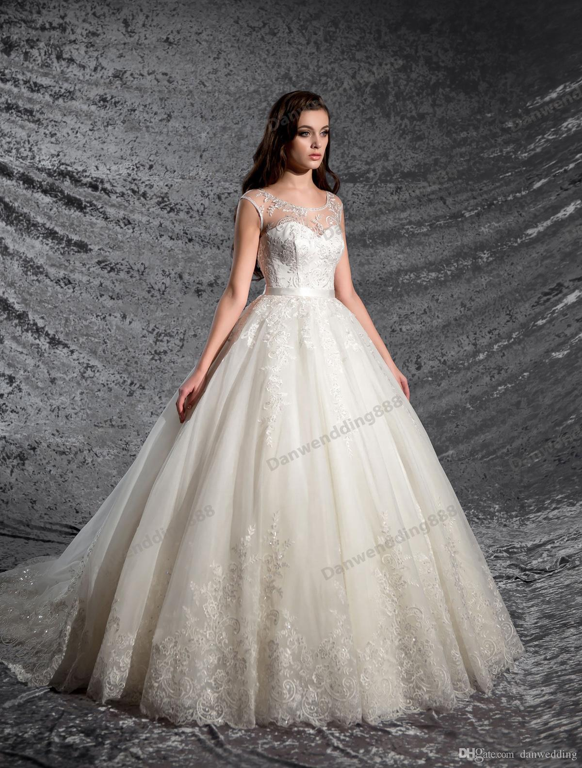 Грейс Кот Тюль Совок Аппликация Бусы A-Line Свадебные платья Свадебные платья Pageant Платья свадебные наряды Нестандартного размера 2-16 ZW606012