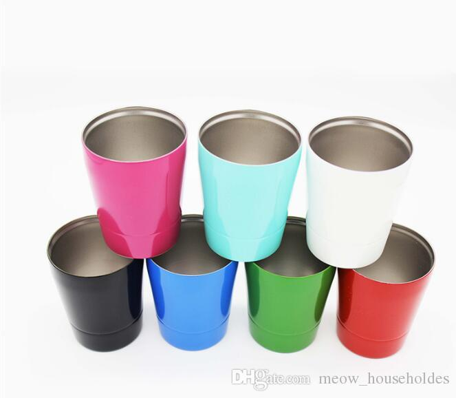 9oz Stainless Steel Wine Glasses Insulation Bilayer portable Beer Glass Wine Cup Juice Coffee Drinkware Mugs car cups