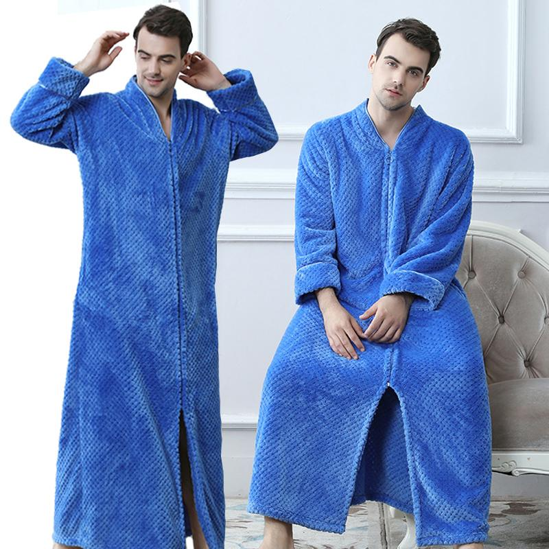 2018 Men Plus Size Thickening Warm Extra Long Winter Bathrobe Male ...