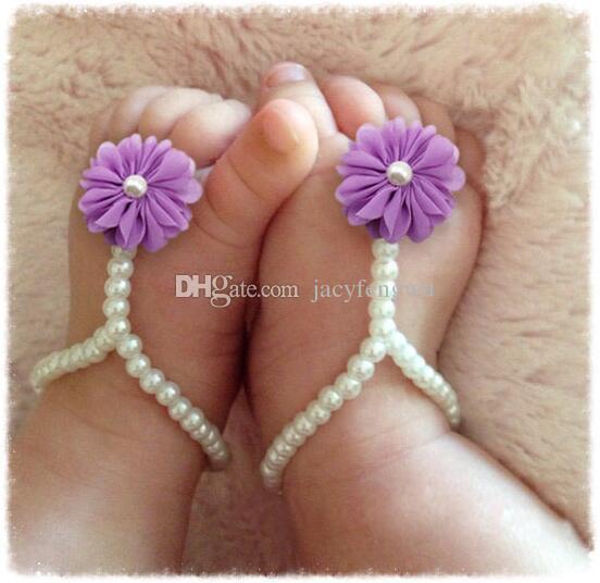 Yenidoğan bebek ayakkabı Çiçek bebek halhal Ayak zinciri çocuk ayak dekorasyon çiçekler Dekorasyon Halhal sanat Inci el yapımı ayakkabı FS012