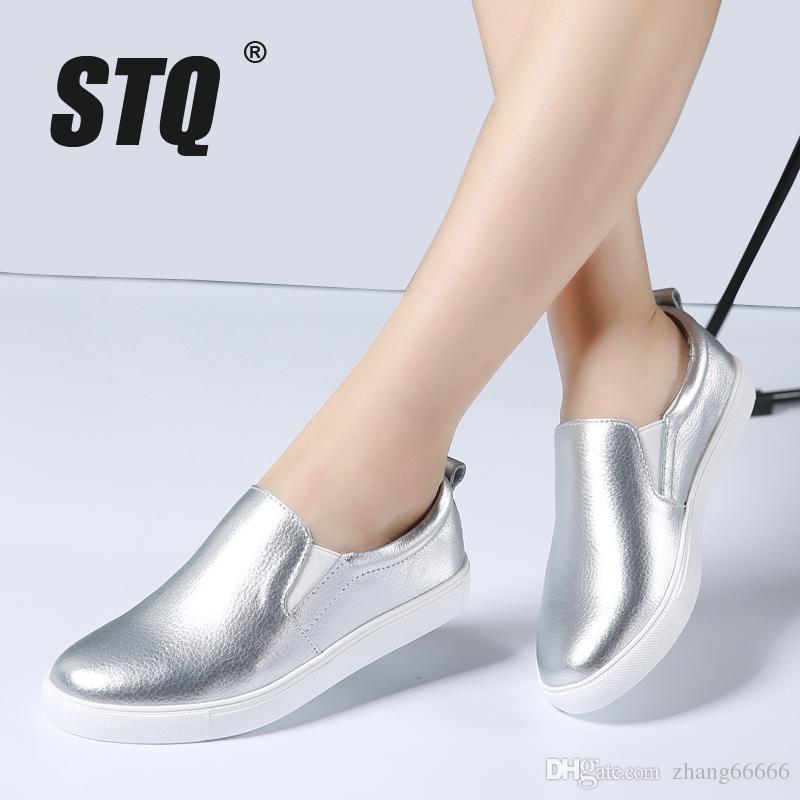 Negro Ballet Zapatos Moda Otoño Cuero Blanco Barco Mocasines 2018 On Mujer Mujeres Slip Pisos De fg6yb7Y