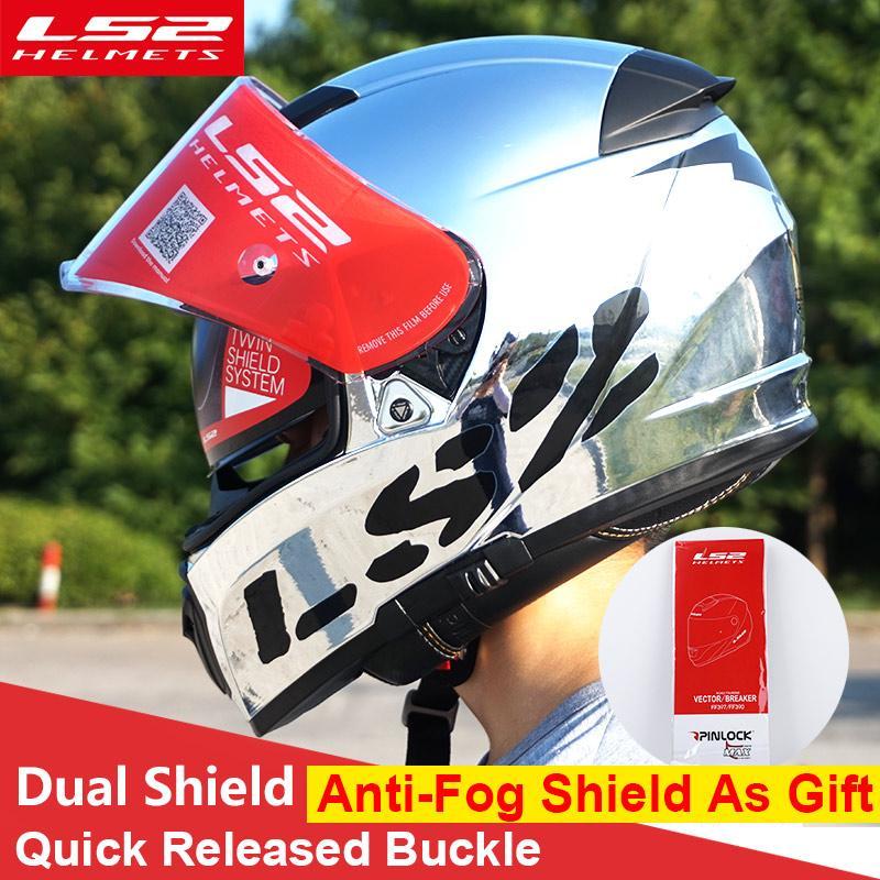 750b5a170f7 LS2 FF390 Breaker Split Motorcycle Helmets With Inner Sun Shield Chrome Full  Face Racing Motorbike Helmets DOT Moto Ladies Motorcycle Clothing Ladies ...