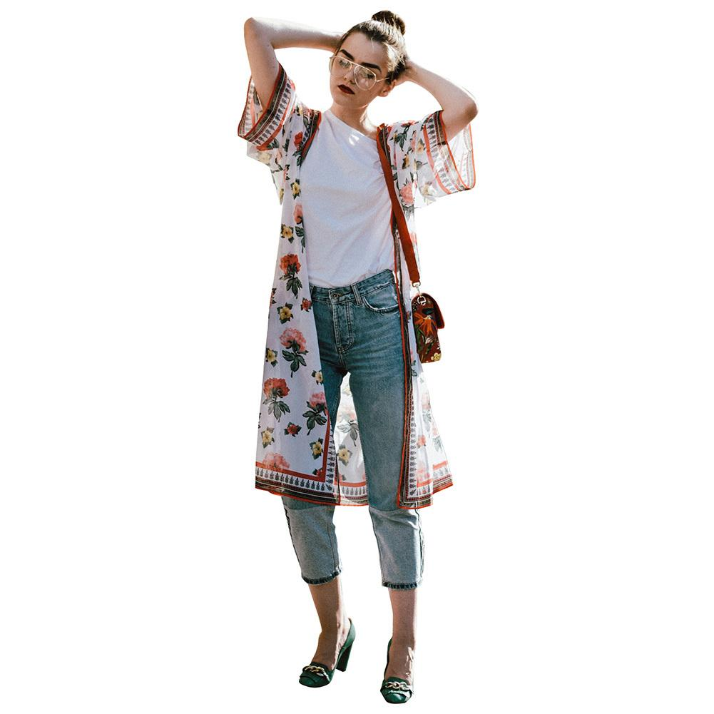 b64f03c49df 2019 Women XXXL Plus Size Chiffon Kimono Cardigan 2018 Summer Fashion Robe  De Plage Boho Floral Print Loose Long Beachwear Blouses From Bibei07