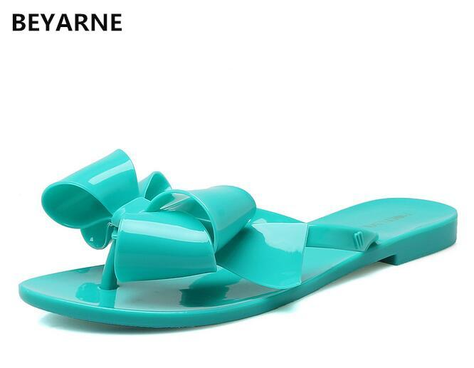 BEYARNE Fashion femme jelly sandales de plage lady tongs tongs chaussures de pluie femmes été pantoufles noir blanc rose 36-41 vert 39