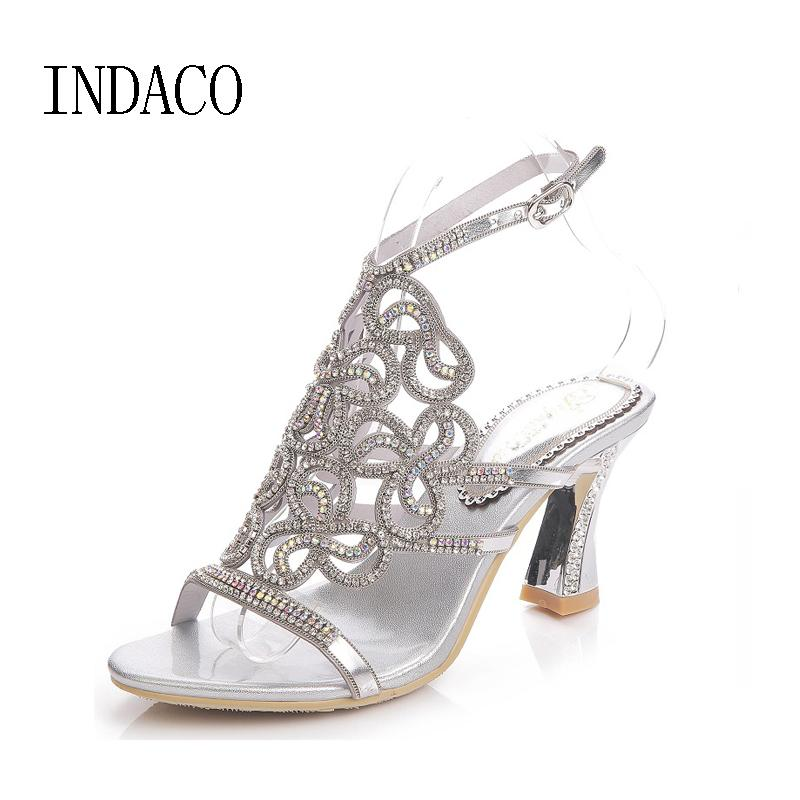 141d67ae0f28 2017 Silver Rhinestone Sandals Crystal High Heel Shoes Wedding Shoes Black  Gold Strappy Heels Sandales Femme 8cm INDACO Buy Shoes Online Wedge Boots  From ...