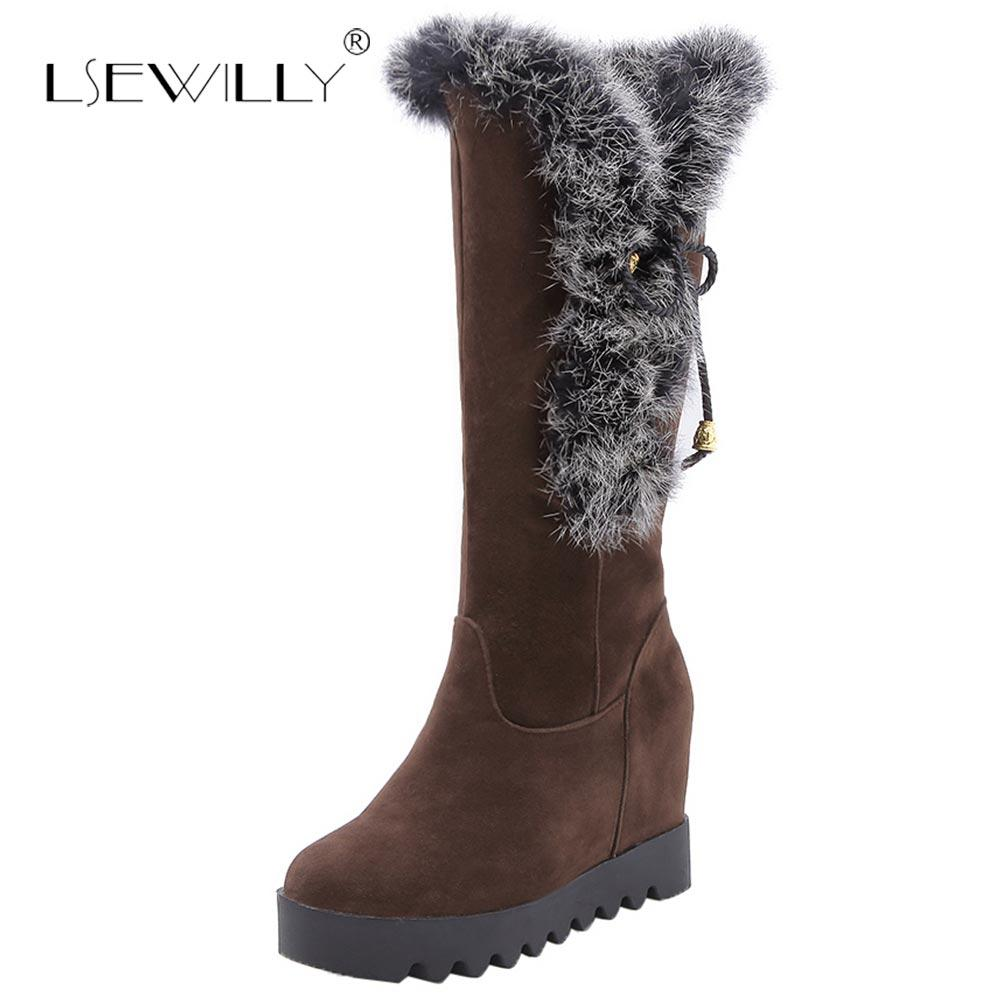 Lsewilly 2018 Fashion Mid Calf Riding Boots Platform Faux Fur High Wedge  Heels Womens Warm Fur Snow Boots Black Brown E208 High Heels Heels From  Bluemoodd ebf8c88ccc
