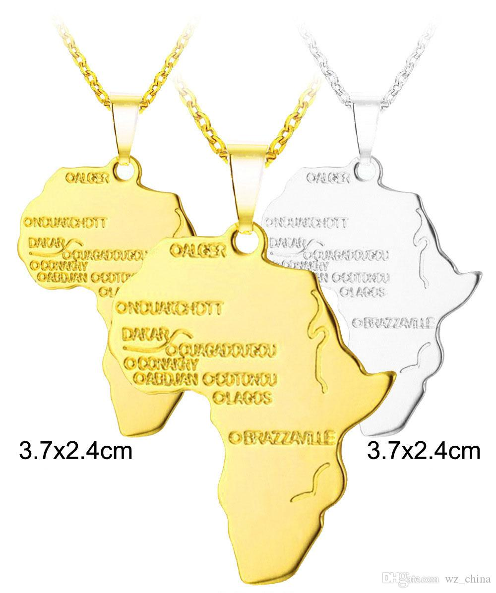 24K guldpläterad halsband hip hop afrikansk karta hänge halsband för män och kvinnor bröllop smycken varm