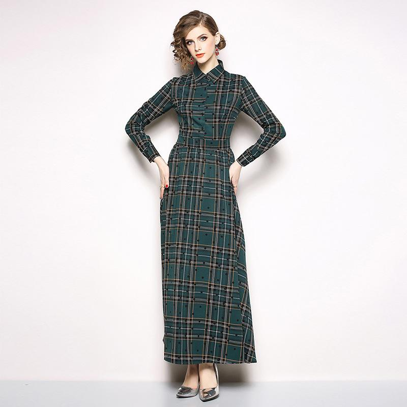 outlet store d5451 e04cf Vintage Plaid Kleider Lady Elegant Maxi Shirt Kleid Revers Ausschnitt  Langarm Casual Daily Dress Herbstmode