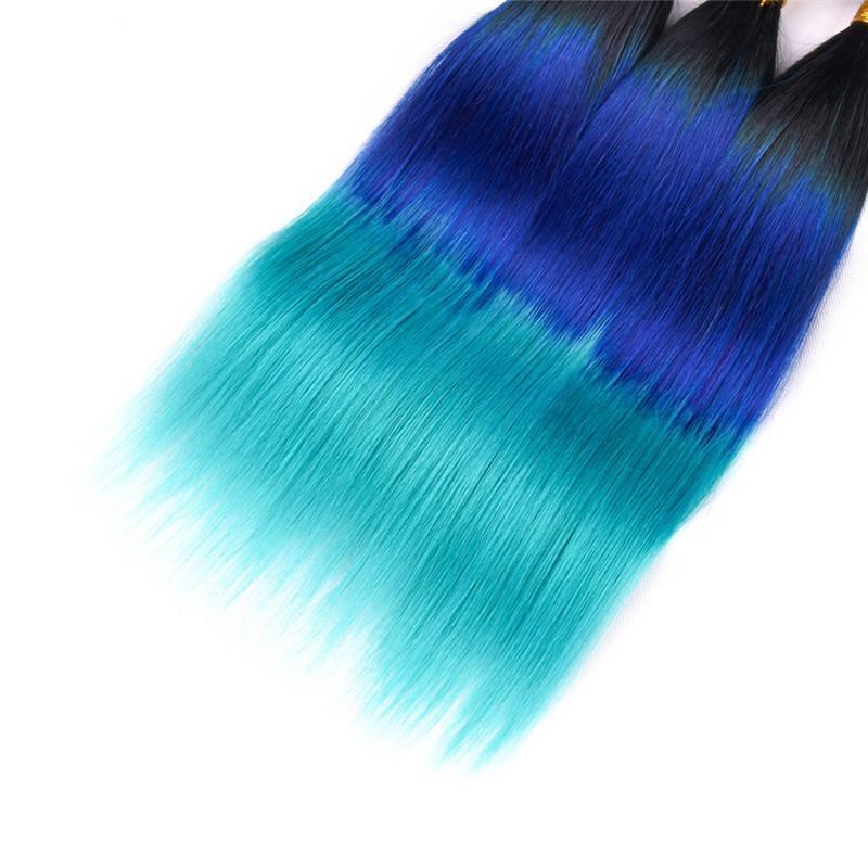 Drei-Ton-1B / Blau / Teal Ombre brasilianische Menschenhaar-Webart Bundles seidige gerade Jungfrau Remy Haar-Bundle-Angebote Ombre Doppel Tressen
