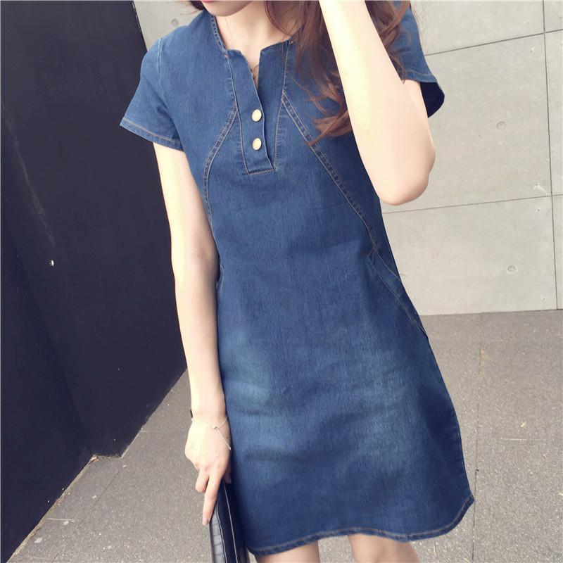 18386260ee4 Women Casual Denim Dresses Pockets Elegant Cowboy Fashion Women Feminino  Lady Slim Shirt Dress Jeans Dresses For Women Lace Dress From Xcq0318, ...