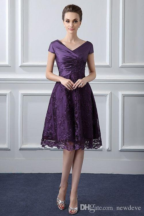 3934fd5808f Elegant Capped Sleeves Mother Of The Bride Dresses Purple Lace Appliques Knee  Length Madre De Los Vestidos De Novia Custom Made Dress For Mother Of The  ...