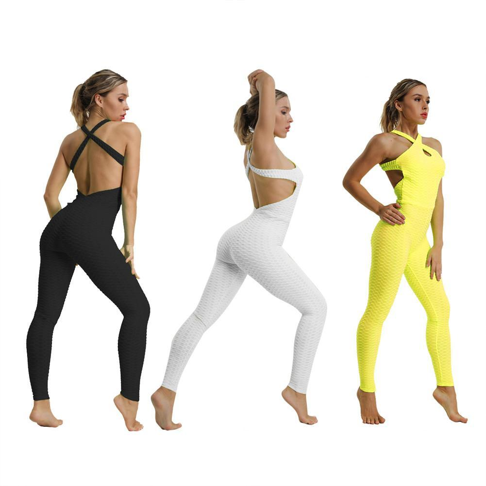 eaa1f157645c6 Compre Mono Deportivo Yoga Jumpsuit Fitness Sport Suit Mujeres Chándal Yoga  Set Backless Gym Running Set Ropa Deportiva Mujer Ropa A  37.22 Del  Shinysun ...