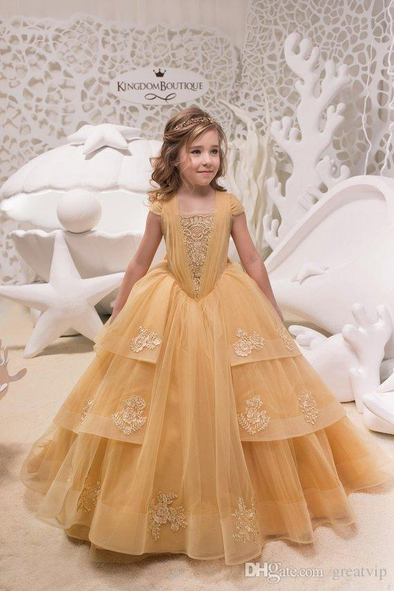 e26dbc504d Cute Flower Girl Dresses Applique Tiered Skirts Bow Kids Wedding Party Dress  Pageant Prom Princess Gowns Robes De Fête Flower Girl Dresses Baby Flower  Girl ...