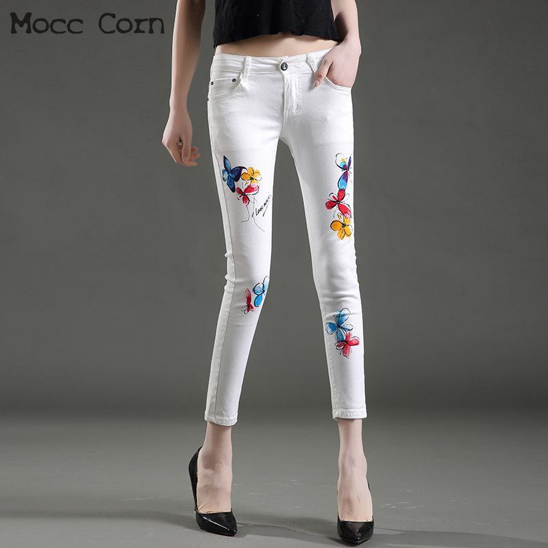 8eff6eabaec Compre Mocc Maíz Algodón Estiramiento Flaco Pintado Blanco Jeans Mujer Sexy  Impreso Delgado Apretado Tobillo Jeans Lápiz Pantalones Pantalones De  Mezclilla ...