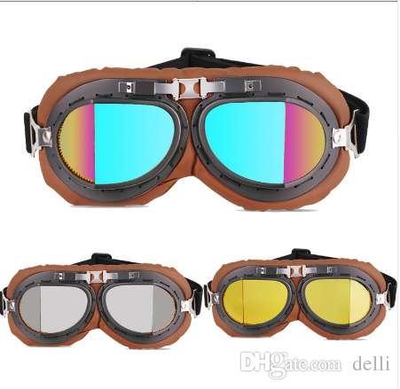 b7901da956c31 Compre Couro PU Óculos De Proteção Da Motocicleta Óculos Vintage Equitação  Desgaste Do Olho Aviador Retro Óculos De Proteção Moto Para Capacete Do ...