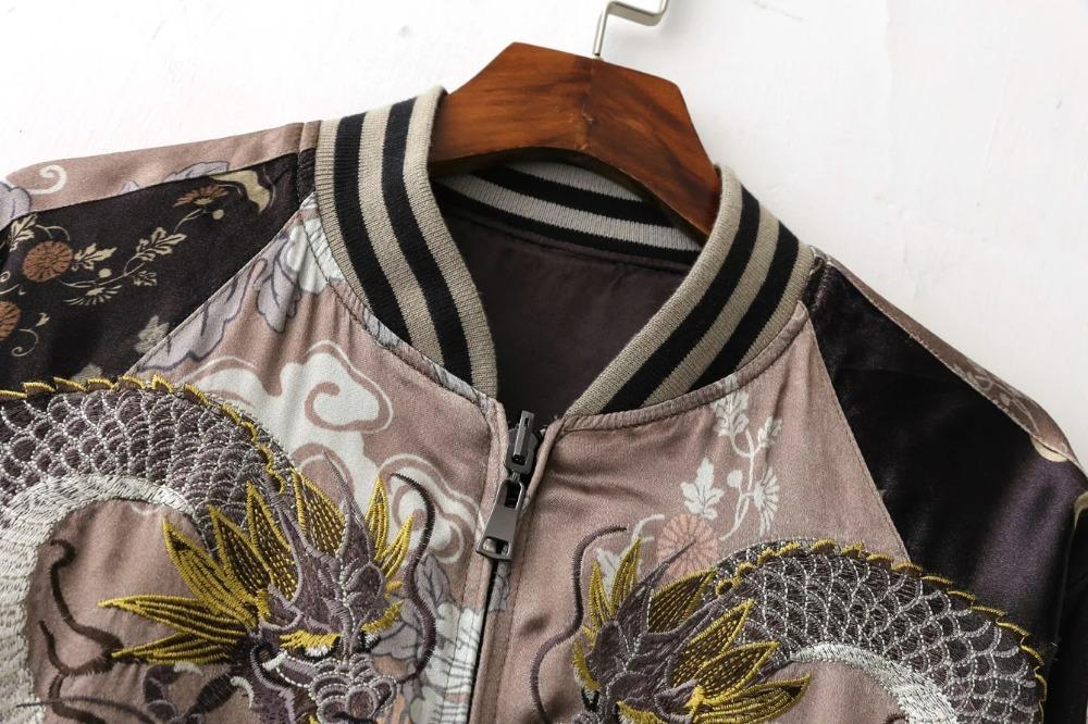 ربيع الخريف سستة بالأزرار المرأة التطريز النمر نمط الشارع الشهير البدلة معطف البيسبول جاكيتات