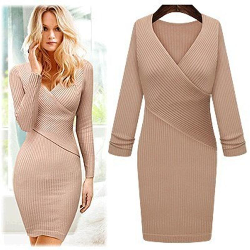 sexy v-cou paquet hanche femmes long pull femmes manches longues robe 2018 hiver robe tricotée femmes pulls pulls
