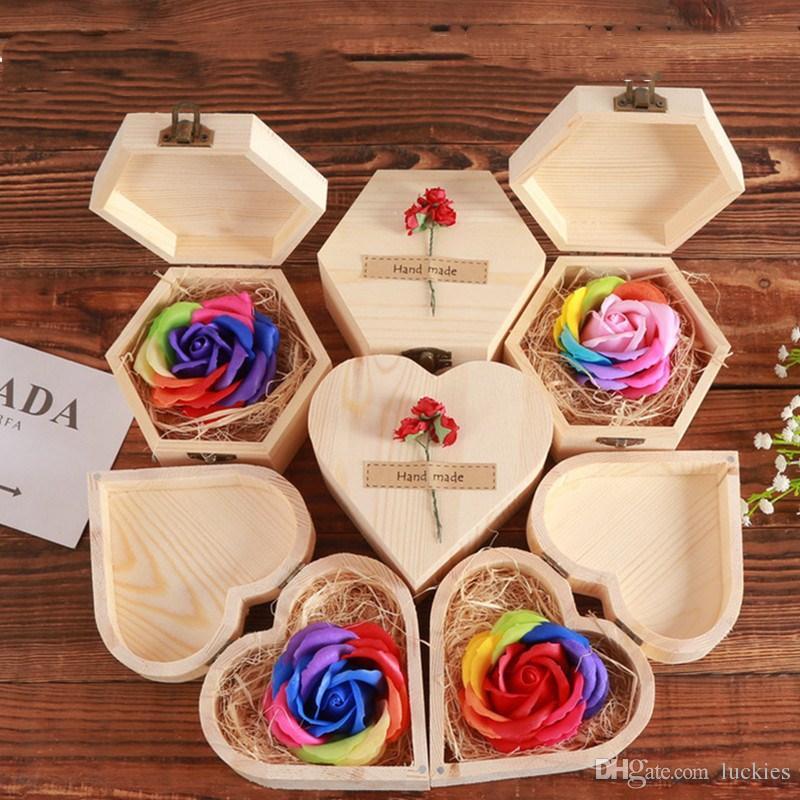 2019 Valentine Day Mini Wooden Box Rose Flower Rainbow Color