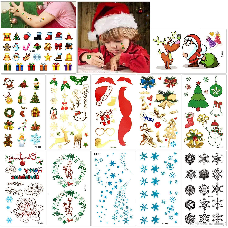 Großhandel Weihnachten Temporäre Tattoos Kit Frohe Weihnachten
