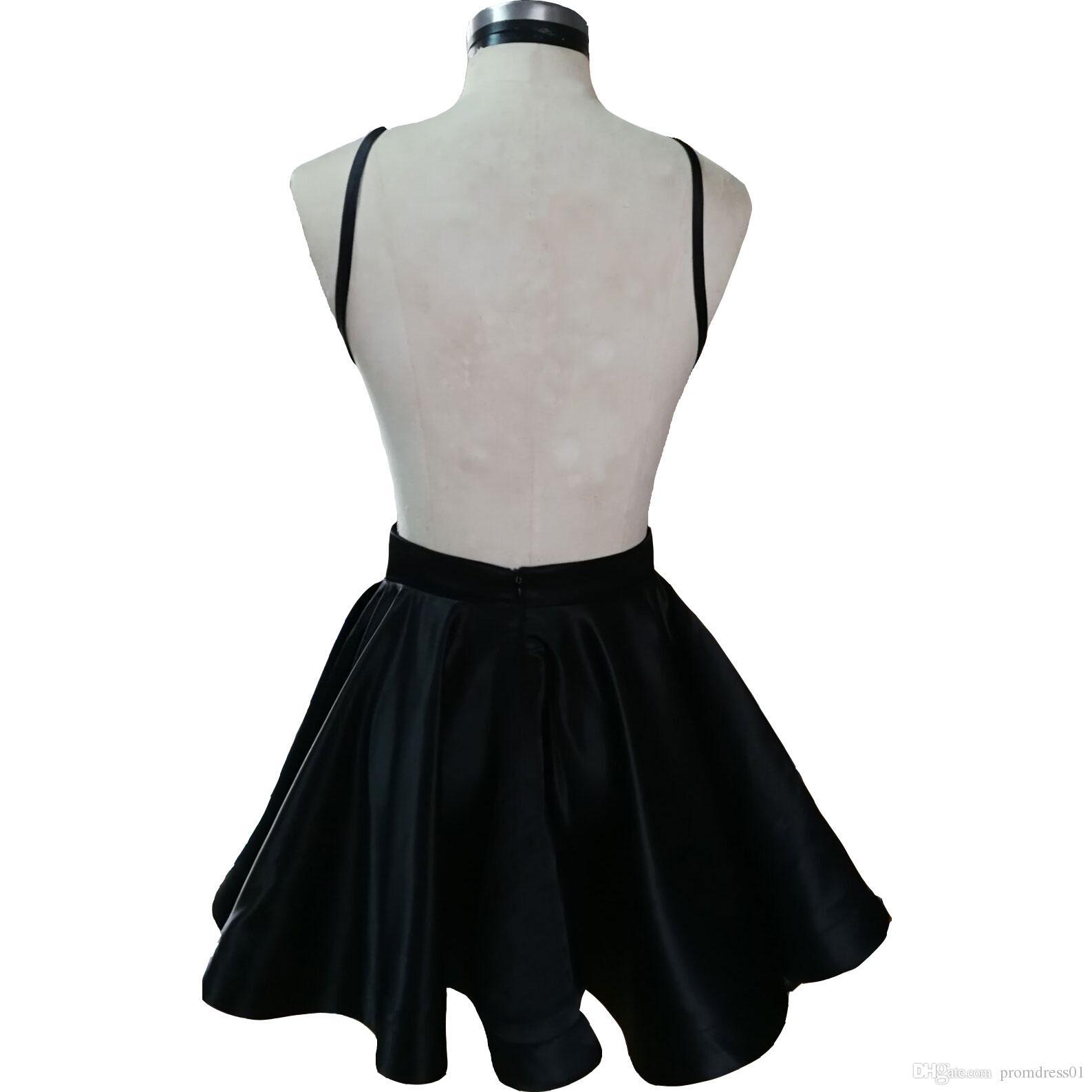 Vente chaude Courts Robes de bal Noirs Noir Homecoming Robes Courtes Robe courte pour Women Robes de fête de moins de 100 ans