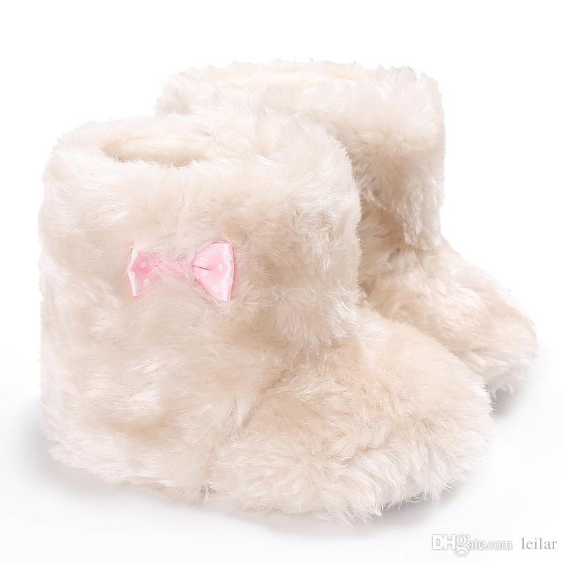 46c0a46850f93 2019 Sweet White Winter Boots Kids Baby Shoes Newborn Cozy Soft Fur Thick  Hairy Super Warm Shoes Infant Babe First Walker For Girls From Leilar