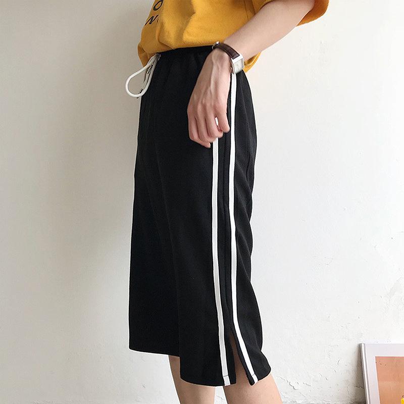 810c7dcc60c9 2019 2018 Summer Skirts Womens Elastic High Waist Side Stripe Split ...