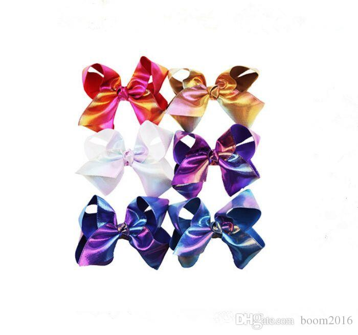 8 Inch Rhinestone Hair Bow Jojo Bows With Clip For School Baby Children Large Sequin Rainbow Bow 8 Styles For valentines DHL free shipping