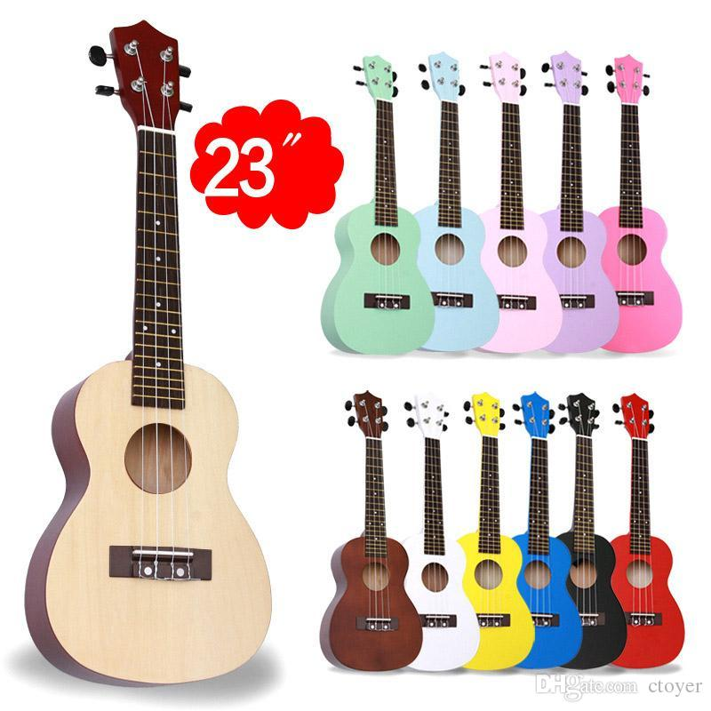 Acoustic Electric Guitar Beginner Rose Wood Soprano Guitar Basswood Soprano  Ukulele With 4 Strings/Picks 12 Colors Available C-Type 23