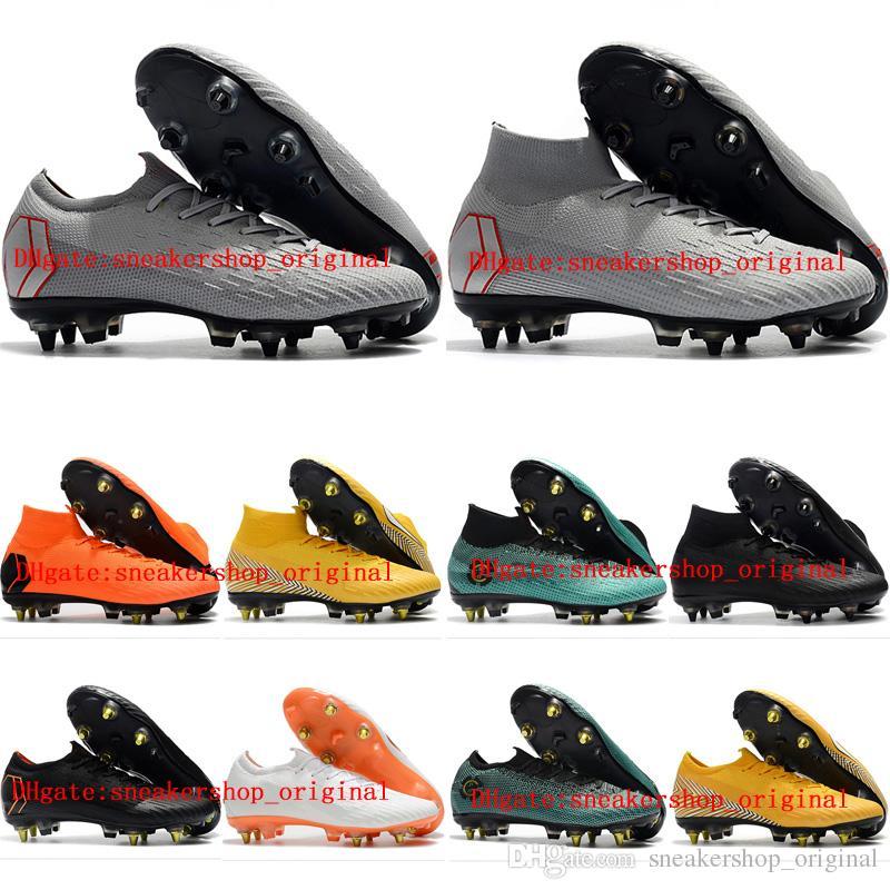 b1f28fe3b88be Compre 2018 Chuteiras De Futebol Dos Homens Mercurial Superfly VI Elite SG Botas  De Futebol AC Cr7 Neymar Sapatos Chuteiras Botas De Futebol De Alta ...