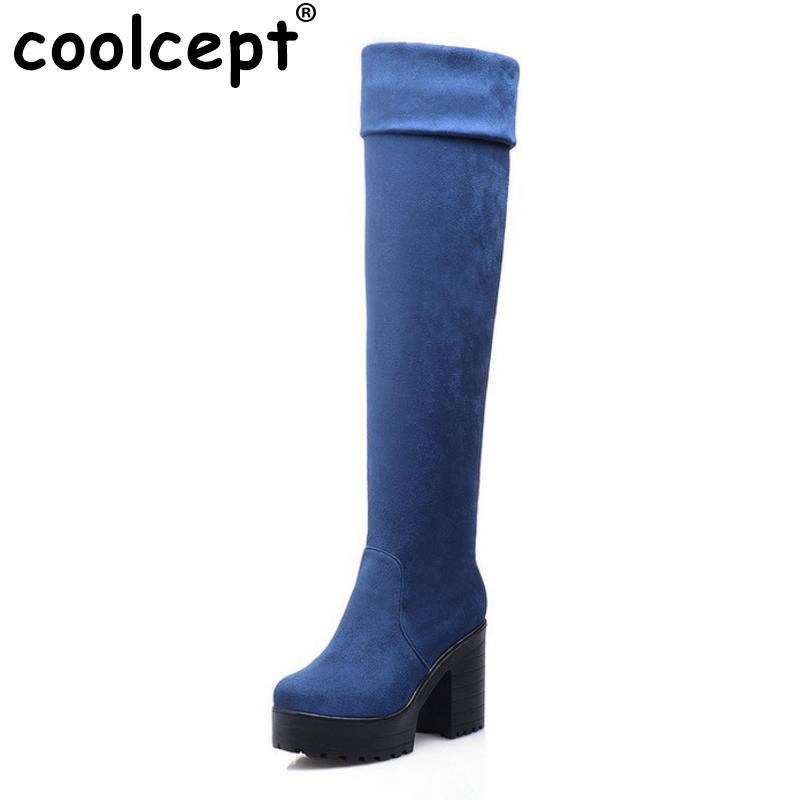 Coolcept Frauen High Heel über Knie Schnee Stiefel Reiten Winter Schnee Knie Stiefel warme Botas Masculina Mode Schuhe Schuhe P19954 Größe 34 43 dee569