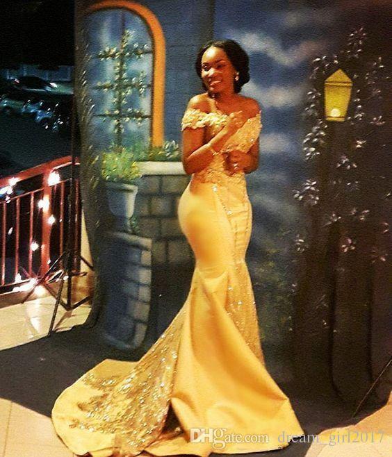 African Black Girls Yellow Mermaid Prom Dress 2018 Lace Applique Off Shoulder Beads Sequined Floor Length Dresses Evening Wear abaya robe de