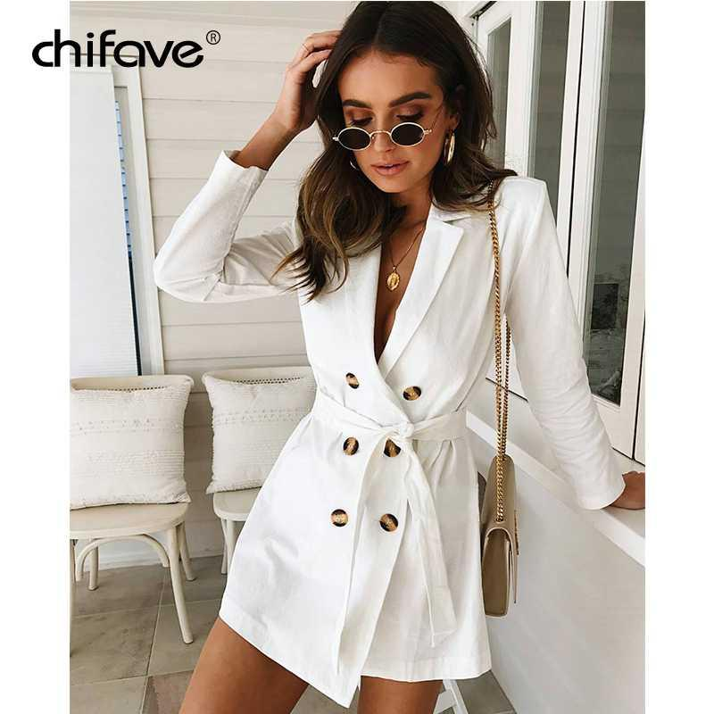 2018 Women Blazer And Jacket Spring Autumn Long Sleeve Double Button Blazers  Female White Slim Office Lady Suit Coat Chifave Blazers Cheap Blazers 2018  ... 27af7e6f7ae7