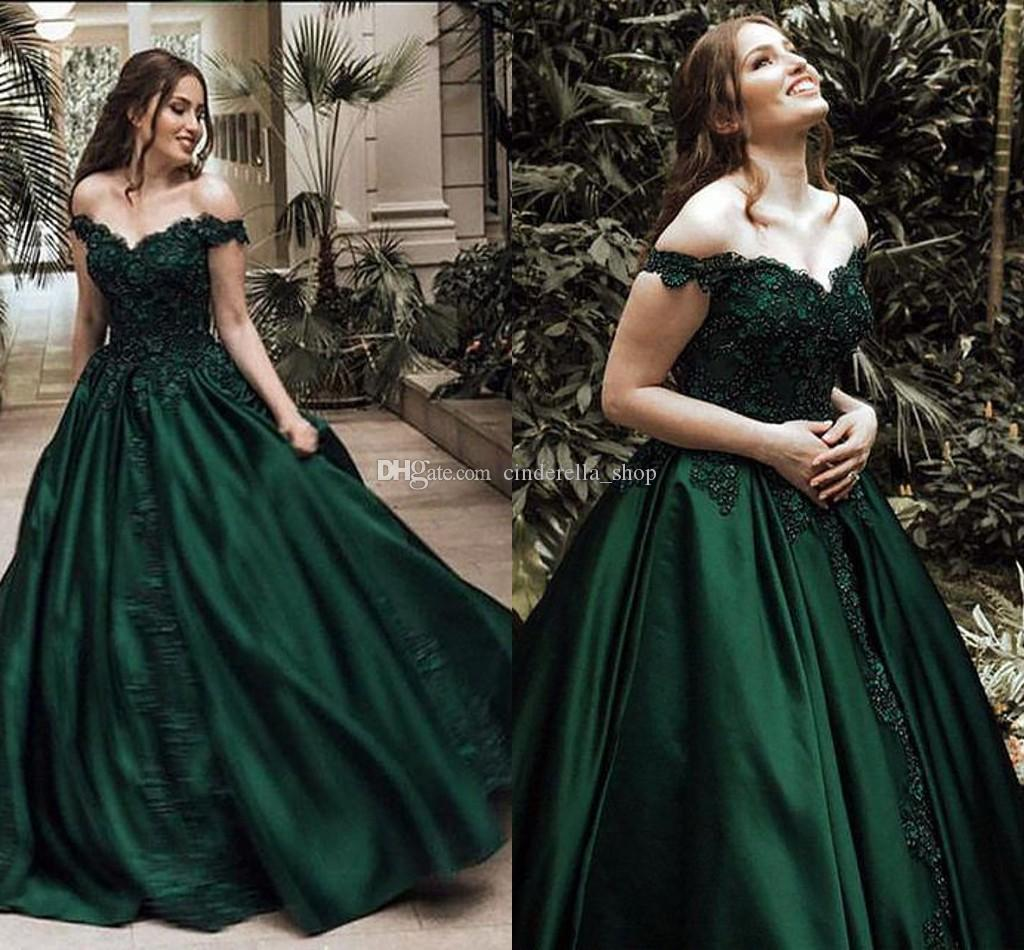 ecbc11d4d38a 2018 Dark Green Prom Dresses Off Shoulder Sweep Train Appliques Beaded Long  Formal Evening Party Gowns Red Carpet Wear Vestidos De Fiesta Fitted Prom  ...
